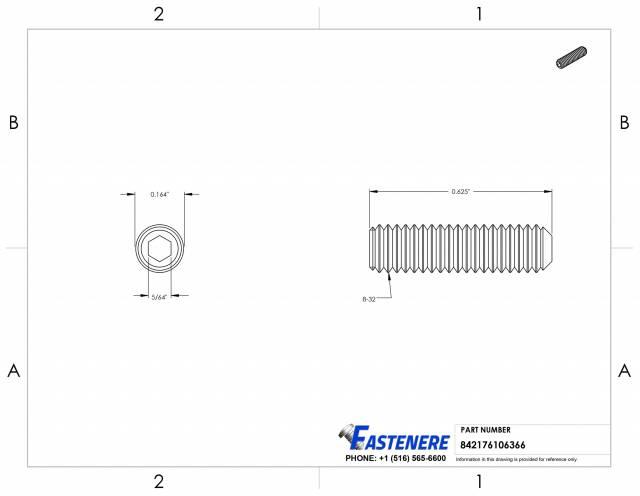 Stainless Steel Quantity: 100 6-32 x 1//8 Coarse Thread 18-8 6 Grub//Blind//Allen//Headless Screw Length: 1//8 inch Cup Point Hex Socket Drive Socket Set Screw