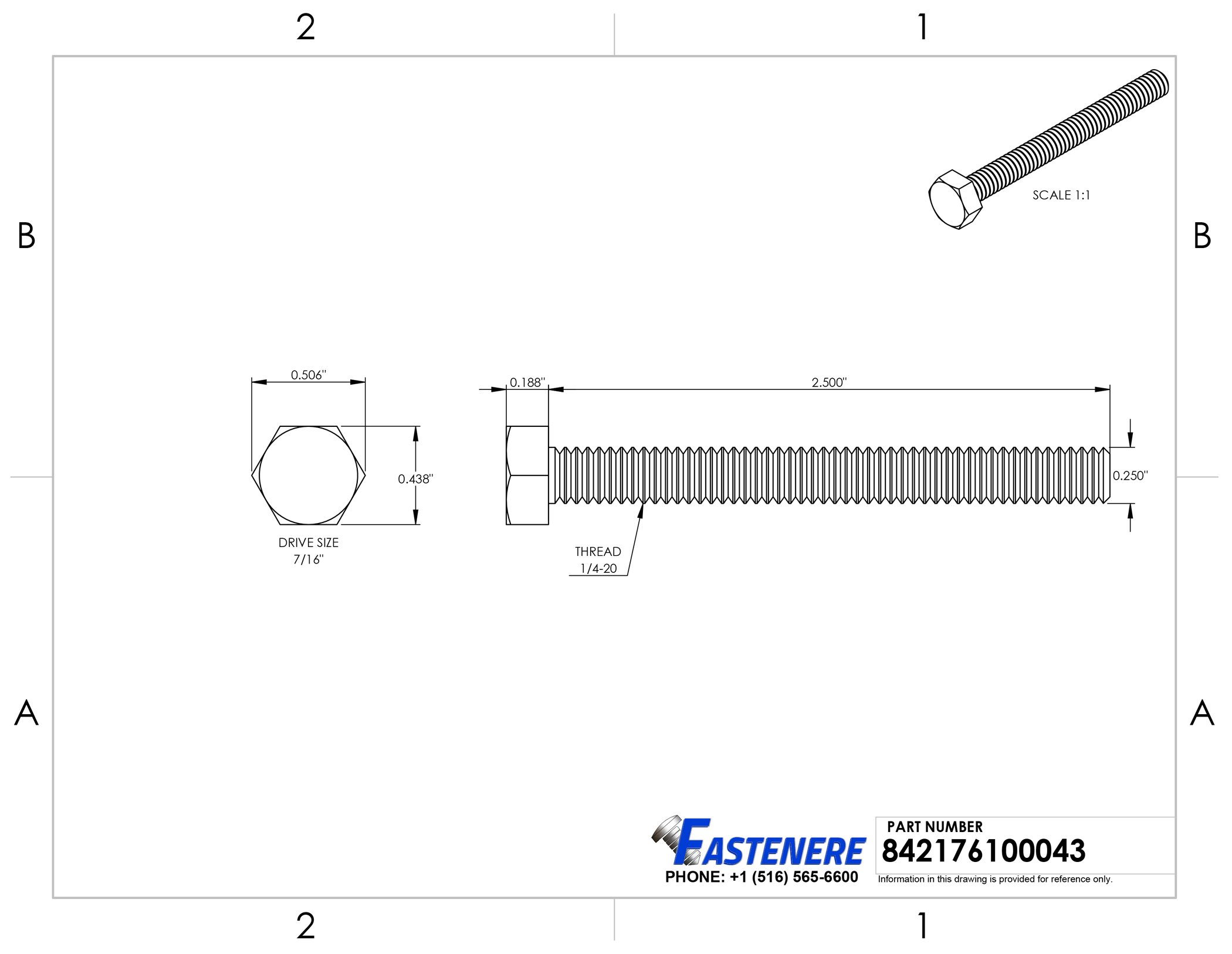 """Hex Bolts Tap Stainless Steel Full Thread 1//4/""""-20 x 2-1//2/"""" Qty 25"""
