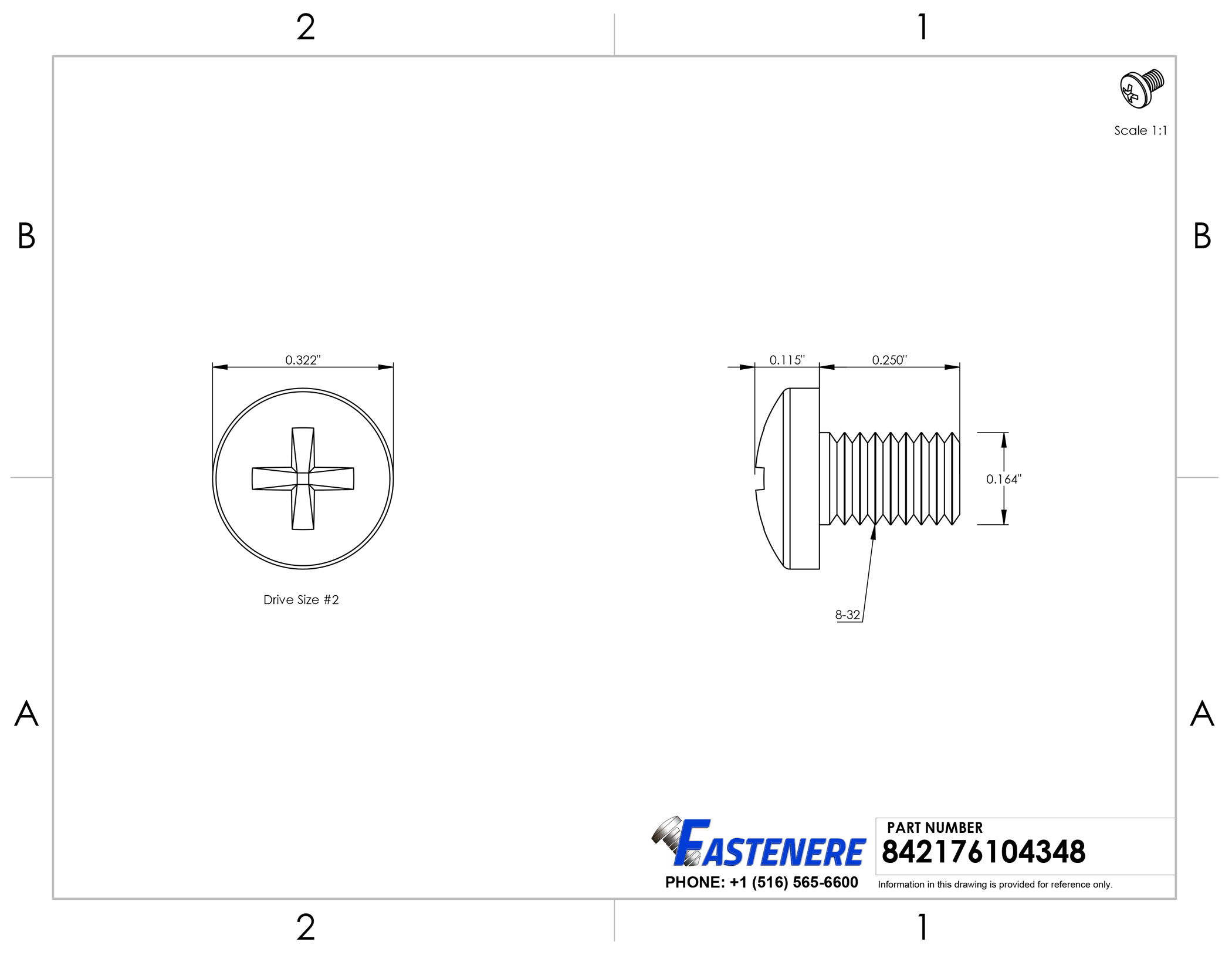 Bright Finish Machine Thread Full Thread Quantity 50 by Fastenere 8-32 x 1-3//4 Flat Head Machine Screws Phillips Drive Stainless Steel 18-8