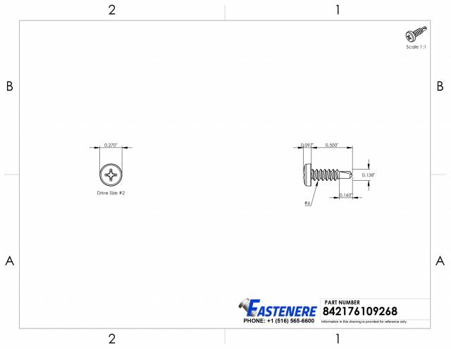 """2G x 6.5 Box 1//4/"""" 304 Stainless Steel Phillips Pan Head Self Tapping Screw"""