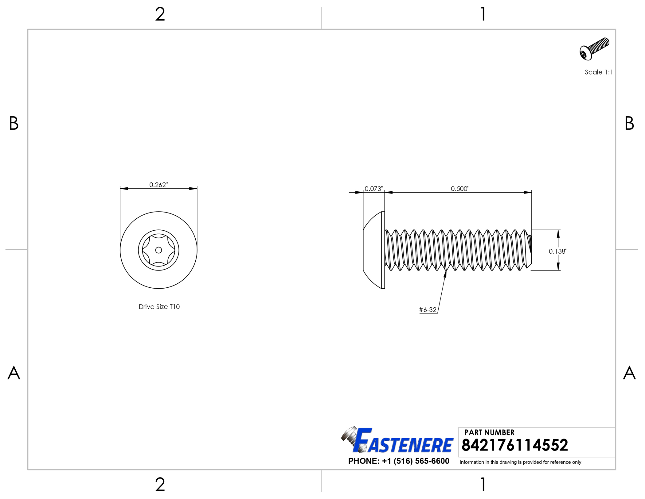"Stainless Steel Torx Pan Head Machine Screw #6-32 x 1/"" Qty-100"