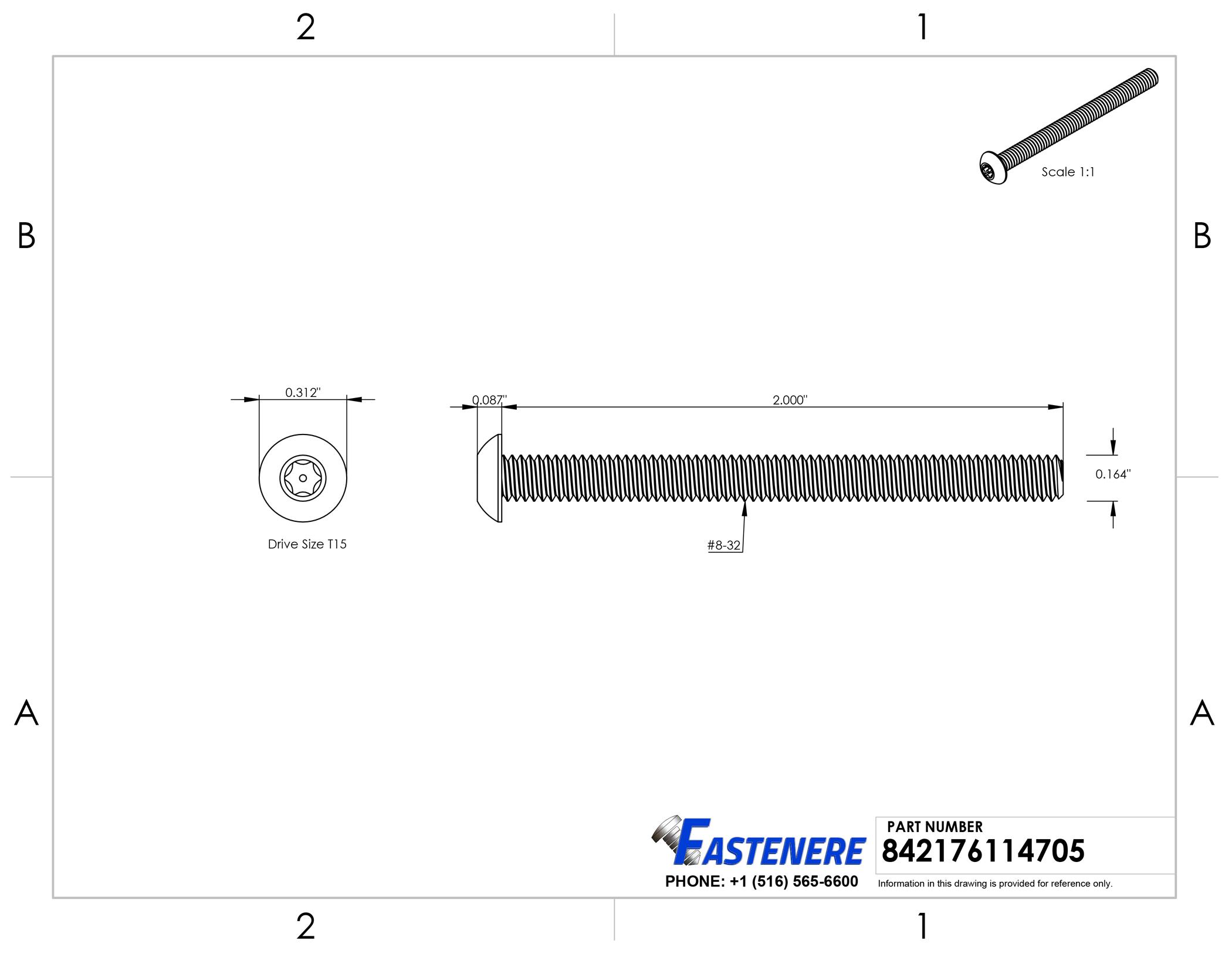 "Stainless Steel Torx Security Flat Head Machine Screw 8-32 x 1/"" Qty 25"