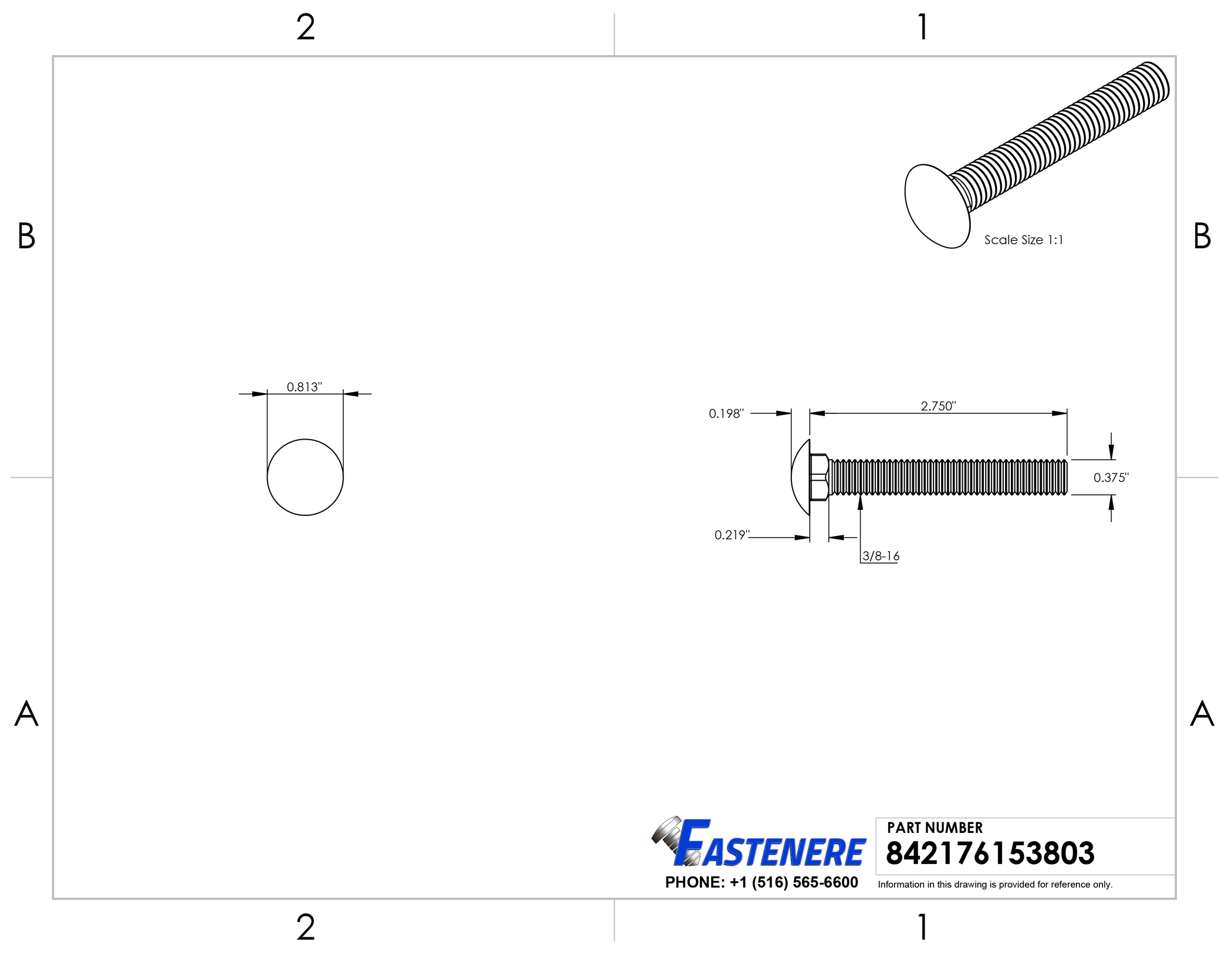 Carriage Bolt 18-8 Stainless Steel 3//8-16 x 3//4 Qty-25