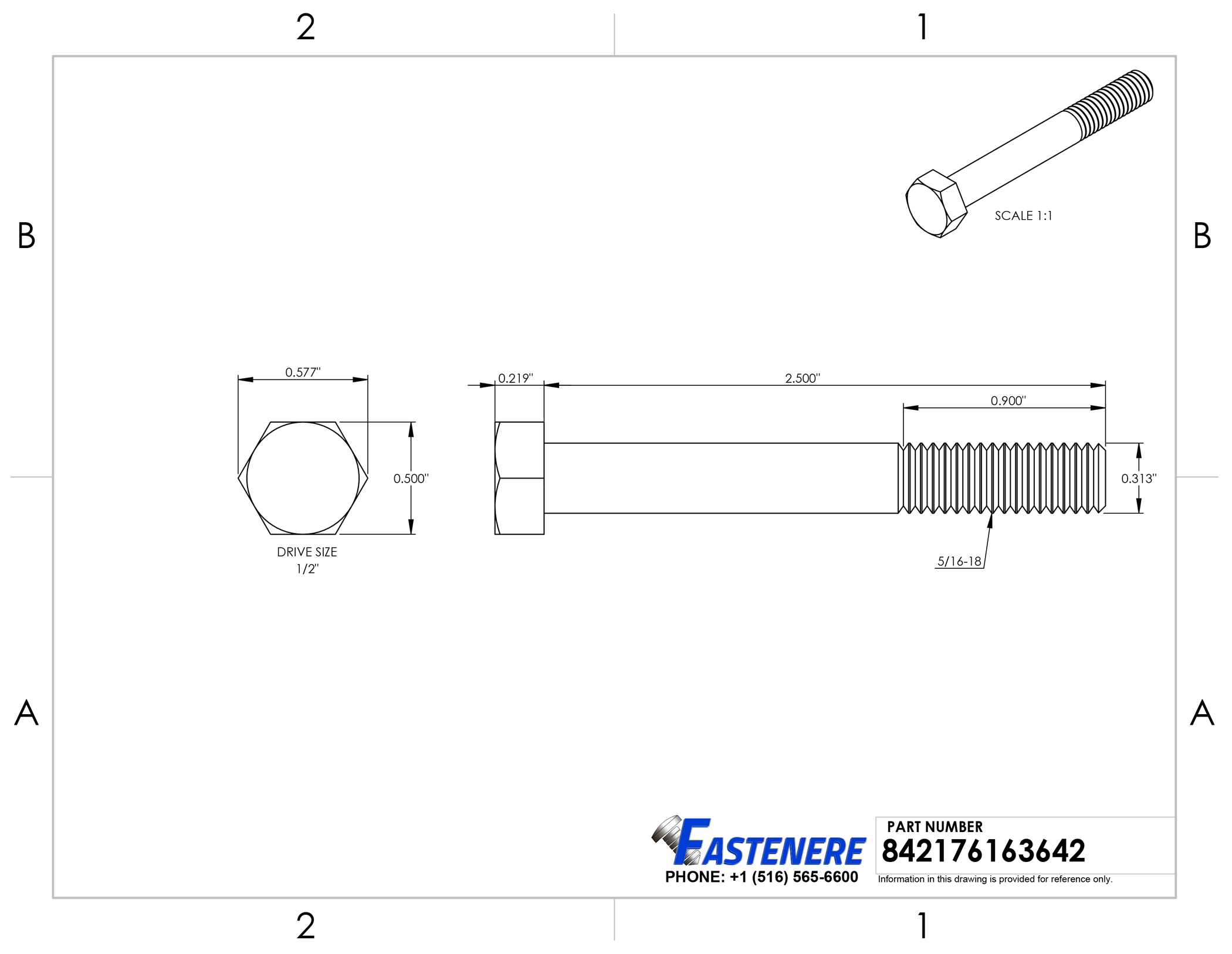 Stainless Steel Hex Cap Screw Bolt Partial Thread 5//16-18 x 2 100//PCS