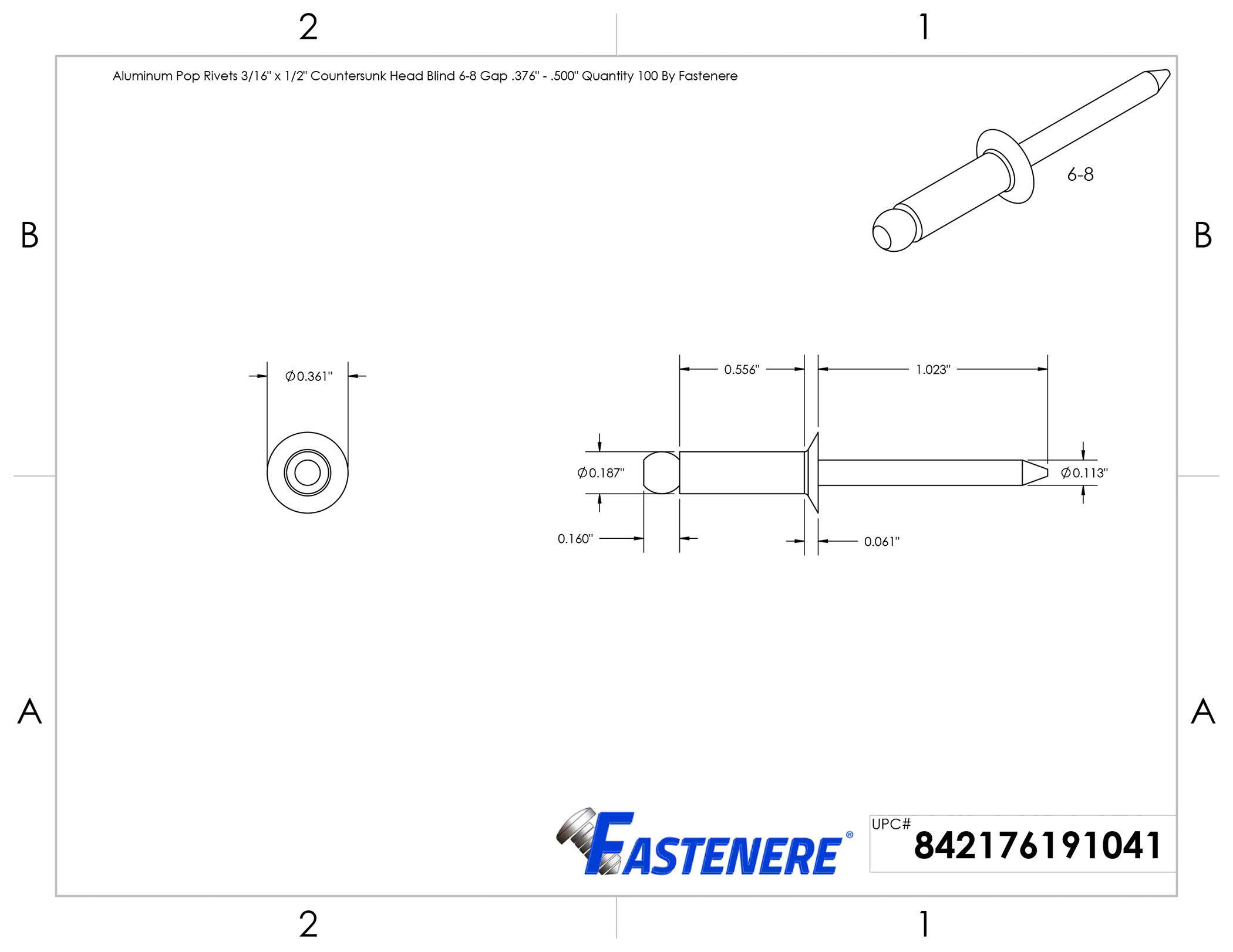1//2 inch head. 3//16 inch dia x 1 inch long Tinned Copper Counter Sunk Rivets